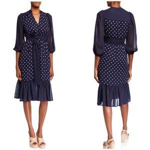 New Eliza J Blue Polka Dot Chiffon Dress Sz 4